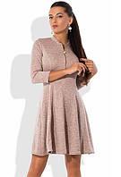 Платье мини из ангоры софт с юбкой-солнце светло-розовое