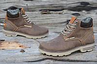 Ботинки мужские зимние коричневые, матовые натуральная кожа, шерсть, мех прошиты (Код: Б920а)