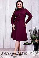 Платье для полных Пуговицы декольте марсал, фото 1