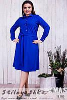 Платье для полных Пуговицы декольте индиго, фото 1