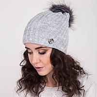 Женская вязанная шапка с меховым помпоном - зима 2018 - Арт 2148 (серый)