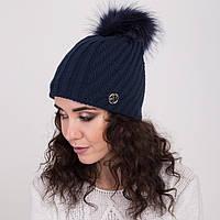 Женская вязанная шапка с меховым помпоном - зима 2018 - Арт 2148 (синяя)