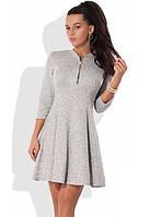 Платье мини из ангоры софт с юбкой-солнце серое