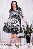 Платье для полных черное в белый горох