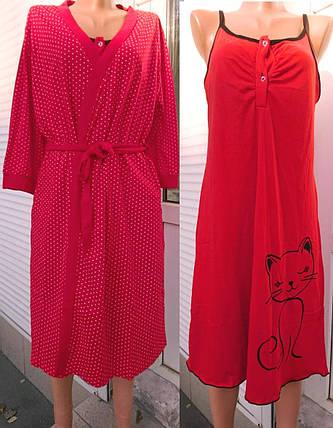 Женский комплект халат и сорочка с кошкой, женские комплекты оптом от производителя, фото 2