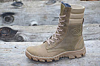 Зимние мужские высокие ботинки, берцы натуральная кожа прошиты высокая подошва коричневые (Код: Б955)