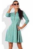 Платье мини из ангоры софт с юбкой-солнце бирюзовое