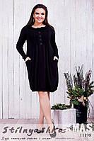 Теплое платье для полных черное