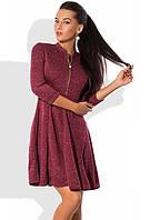 Платье мини из ангоры софт с юбкой-солнце бордовое