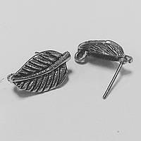 """Заготовка для сережек """"Листик"""" (античное серебро)"""