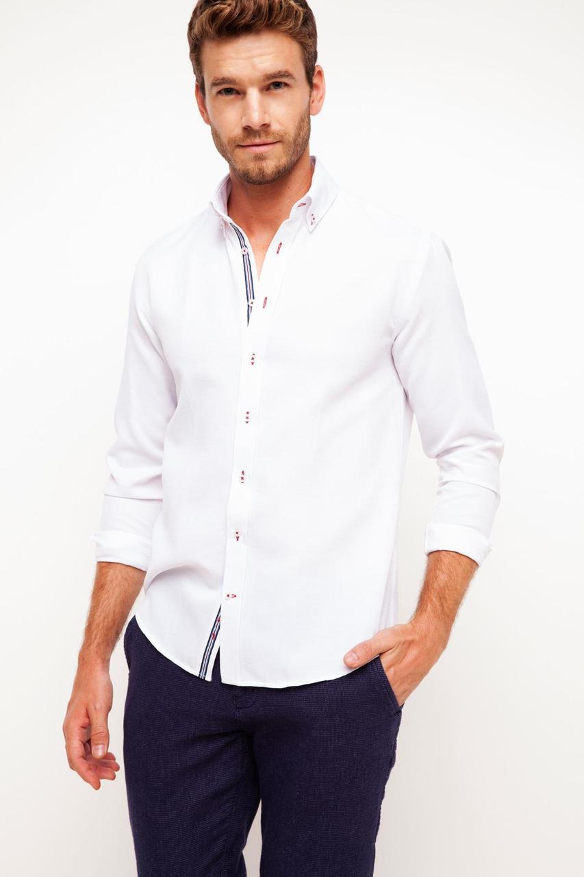Белая мужская рубашка De Facto / Де Факто