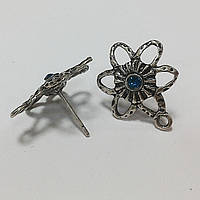 "Заготовка для сережек ""Цветок"" (античное серебро)"