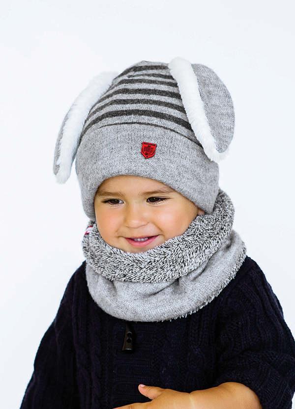 Детская зимняя шапка  для мальчиков ЭДМУНД (набор) оптом размер 46-48-50