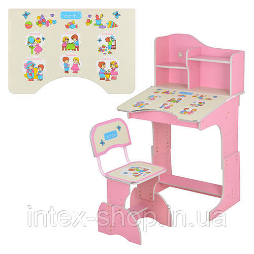Детская парта со стульчиком Bambi РОЗОВАЯ (HB 2071 UK-02-7) регулируемая