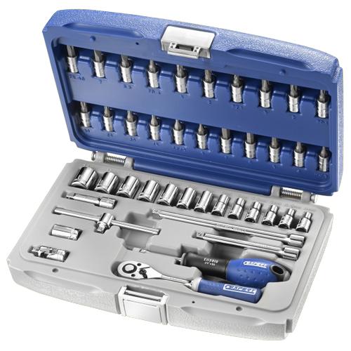 """Набор инструментов 1/4"""" 42 ед. (головки: 4-14 мм, биты Sl, Ph,Torx, Hex, адаптер 1/4"""", 3 удлинителя, (Артикул: E030702 )"""