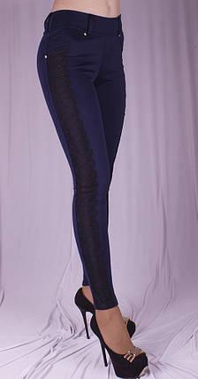 Леггинсы с гипюром синие, фото 2