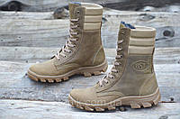 Зимние мужские высокие ботинки, берцы натуральная кожа, прошиты высокая подошва коричневые (Код: Б955а)
