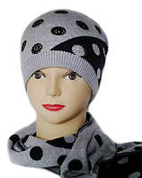Комплект женский вязаный шапка и шарф Milan шерсть натуральная цвет джинсовый серый