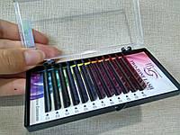 Ресницы I-Beauty ЦВЕТНЫЕ, 20 линий Д 0.1 12 мм, фото 1