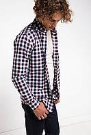 Мужская рубашка De Facto/Де Факто в бело-сине-красные клетки
