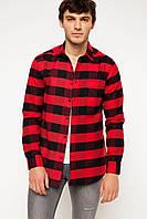 Красная мужская рубашка De Facto/Де Факто в черную клетку