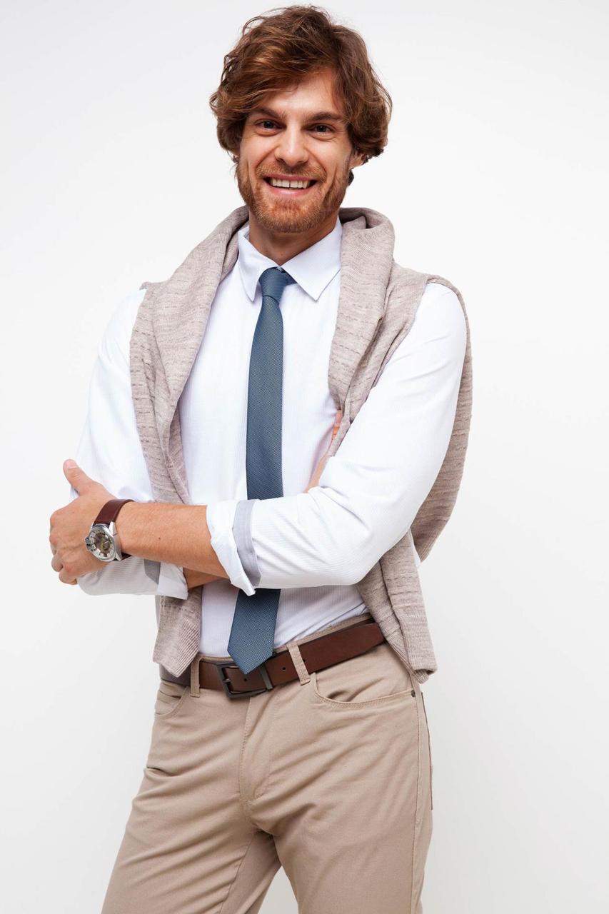 Бледно-голубая мужская рубашка De Facto/Де Факто