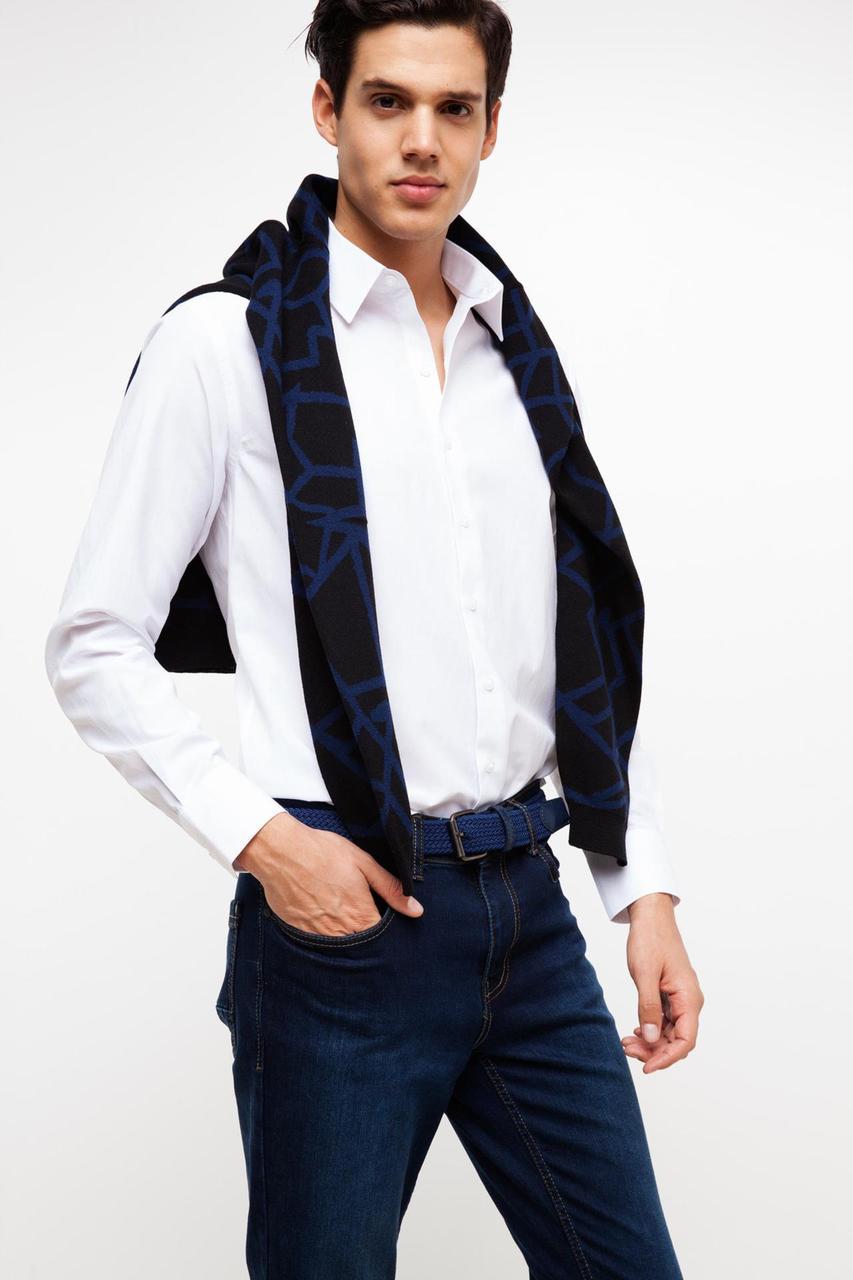 Белая мужская рубашка De Facto/Де Факто с карманом на груди