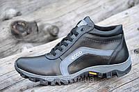 Мужские зимние спортивные ботинки, кроссовки натуральная кожа черные толстая подошва полиуретан (Код: Б964)
