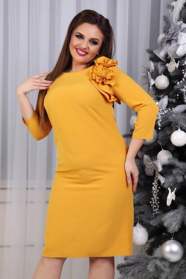 Платье с цветком, модель 797, горчица