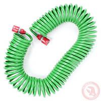 """Шланг для полива спиральный 15 м с конекторами + aдаптер универсальный для конектора 1/2"""" с внутренней резьбой"""