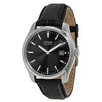 Мужские часы CITIZEN Eco Drive Black Dial Black Leather AU1040-08E