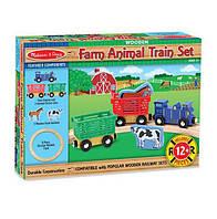 """Детский деревянный набор """"Поезд с животными"""""""