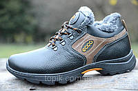 Зимние мужские ботинки, кроссовки, полуботинки натуралькая кожа черные прошиты (Код: Б967)