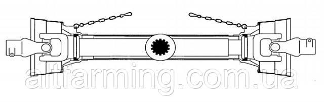 Карданний вал без вилки серія P10, хрестовина 42х104 ромашка, потужна серія