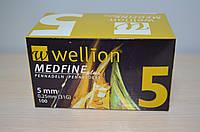 Голки для інсулінових шприц-ручок Wellion Medfine plus 0,25 мм (31G) х 5 мм, 100 шт