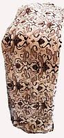 Качественный плед-покрывало-простынь с микрофибры Nanhwa Беж с коричневым узоро