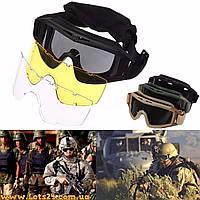 Маска защитная тактическая для сноуборда, страйкбола, лыж Revision Desert Locust (3 броне-линзы)
