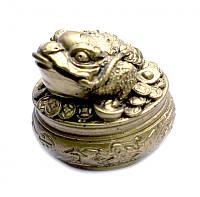 Жаба богатства на горшке с деньгами под бронзу, фото 1