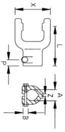 Вилка серії L04/B04  під хрестовину 27x74,6, розмір 25