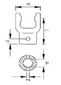 Вилка серії L04/B04 під хрестовину 27x74,6, розмір внутр.35, шпілька 35; 98x20x85