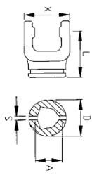 Вилка внутрішньої трикутної труби серії B8  під хрестовину 35x106,5, розмір 54