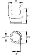 Вилка зовнішньої  трикутної труби серії B8V  під хрестовину 35x106,5, розмір 63