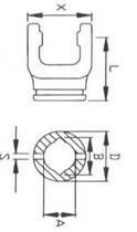 Вилка внутрішньої труби лімон серії L01, розмір 23,5x31;  47x65x79