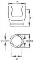 Вилка зовнішньої  труби лімон серії L01, розмір 30x39;  47x65x79