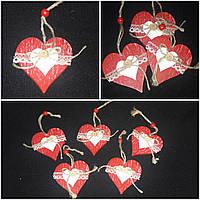 """""""Сердечко с кружевом"""" - елочная игрушка ручной работы из дерева, 7.5х7.5 см., 24/18 (цена за 1 шт. + 6 гр.)"""