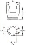 Вилка зовнішньої  труби лімон серії L67, розмір 48x57,5;  70x106x105