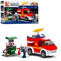 Конструктор Sluban M38-B0623  пожарная машина,заправка,фигурка,136дет,в коробке,24-14-4,5см