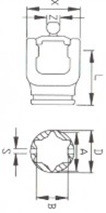 Вилка серії W65-W67 під хрестовину 36x89x32x110