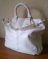 Женская кожаная сумка, белого цвета, фото 1