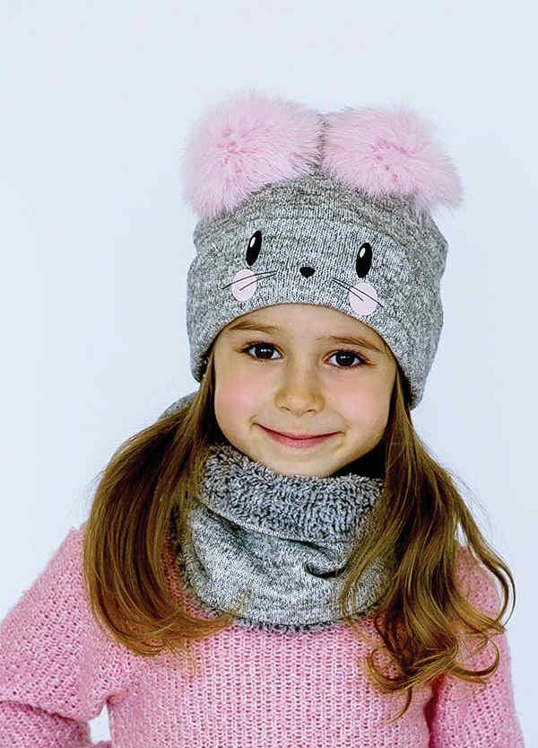 Детская зимняя шапка (набор) для девочек ЛИЛЬН оптом размер 46-48-50